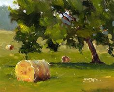 """Daily Paintworks - """"Three Bales"""" - Original Fine Art for Sale - © Kent Brewer"""