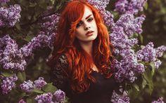 весна, сирень, аромат, девушка, настроение, рыжая