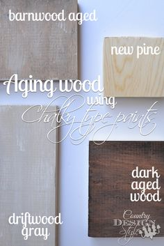 Wood using Chalky Paint Learn my how to tip to turn new wood to barnwood using chalky paint. DIY that's easy. country design styleLearn my how to tip to turn new wood to barnwood using chalky paint. DIY that's easy. Chalky Paint, Paint Stain, Annie Sloan Chalk Paint, Paint Finishes, Gray Chalk Paint, Wood Stain, Barn Wood Crafts, Aging Wood, Paint Furniture