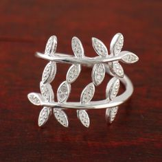 925 Sterling Silver Charming Shine CZ Branch Leaves Adjustable Ring A3607 #Unbranded #Band