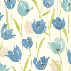 Brewster 347-20115 Finch Blue Hand Painted Tulips Wallpaper (Vinyl)