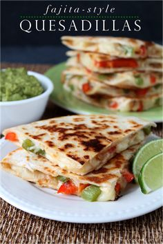 These Fajita-Style Quesadillas are so tasty and easy to make! Serve them up with some guacamole and chips, and you have a fantastic dinner!