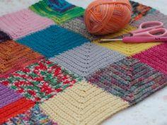 Manta de restos de lana tejida en diagonal