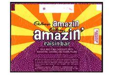 Cadbury Amazin Raisin Bar nougat, caramel and raisins.