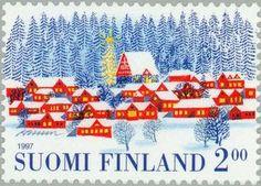 ◇Finland  1997  Village in winter snow