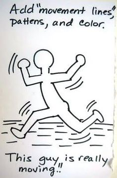 """Good tutorial for drawing Keith Haring figures """"moving"""""""