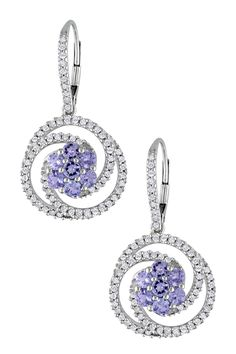14K White Gold Diamond Halo Tanzanite Drop Earrings - 0.75 ctw