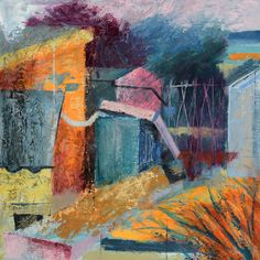 Our advent artwork today is 'Sheds', mixed media on board by British painter, sculptor, jeweller and goldsmith Annabel Eley, x x - Sheds, New Art, Advent, Mixed Media, British, Abstract, Board, Artwork, Painting
