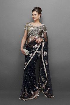Black Sari & Gold Blouse with Silver Crystal Work