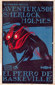 Spanish poster for Hound of the Baskervilles - Sherlock Holmes by Rafael de Penagos -