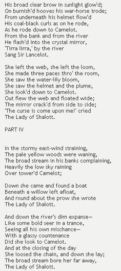 The Lady of Shalott by Alfred Lord Tennyson  #poetry http://annabelchaffer.com/