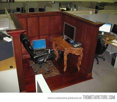 Classy cubicle… make the best of things!