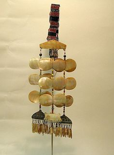 Ornament (Sipattal) | Late 19th–early 20th century | Philippines, Isneg people | Shell, beads, fiber, metal