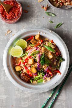 vegan nasi goreng with ginger tofu