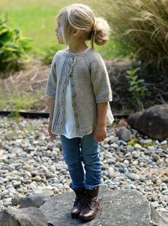Lovely knitted cardigan with leaf lace detail for girls. Cove Cardigan by Heidi May - The Velvet Acorn Designs - ravelry