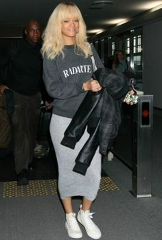Rihanna wearing Comme Des Garcons Play Converse Sneakers, Carhartt X a.P.C. 2011 Fall/Winter Jacket, Rodarte Sweatshirt, Xl Chainlink Ring, Stud Ring W Pave White Diamond and Mini Disc Ring W Pave White Diamonds.