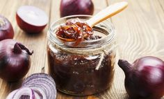 Liven up simple bangers and mash with this easy onion jam. Grilled Sandwich, Grilled Meat, Foie Gras, Bacon Onion Jam, Liver Recipes, Bangers And Mash, Sweet Chilli Sauce, Those Recipe, Arabic Food
