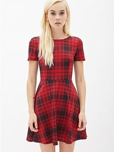 This chic and affordable red dress will transition perfectly into the fall. // Plaid Scuba Knit Skater Dress by Forever 21