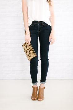 jeans  / white lattice tank