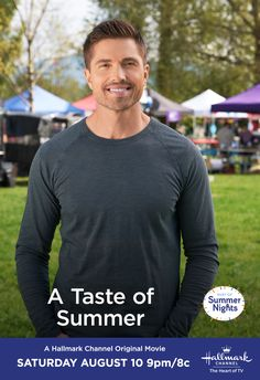 """Will Caleb (Eric Winter) decide to take the leap and chase his baseball dream? """"A Taste of Summer"""" premieres August 10 at on Hallmark Channel, part of Summer Nights. Eric Winter, August 10, Hallmark Movies, Hallmark Channel, Original Movie, Bradford, Summer Nights, Movie Tv, Tv Shows"""