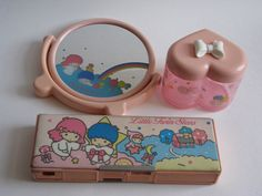 Little Twin Stars vintage mirror, box and pencil case by Siri_Mae_doll, via Flickr