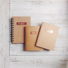 Fresh new line of hand-stamped Copper Plate Kraft Notebooks, only available in #Papemelroti stores! Watch out for a variety of sizes and styles.