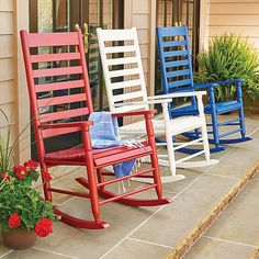 Improvements Seabrooke Patio Rocking Chair - Red (27.570 HUF) ❤ liked on Polyvore featuring home, outdoors, patio furniture, outdoor chairs, colored rocking chair, wood rocker, seabrooke rocking chair, red, porch rocking chair and porch rocker