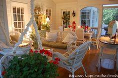 Screened-in porch featuring Pier 1 Santa Barbara Outdoor Furniture
