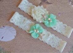 A personal favorite from my Etsy shop https://www.etsy.com/listing/246476541/mint-beach-wedding-garter-set-starfish
