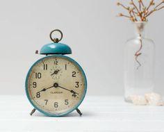 Vintage Clangor Alarm Clock Wind Up Alarm Clock Blue by RD1Vintage, $24.00