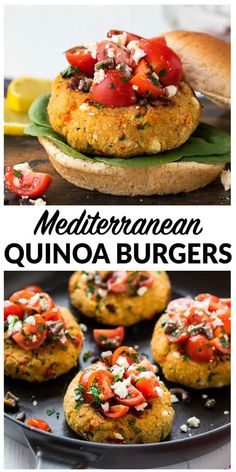 Mediterranean Quinoa Burgers. Easy, healthy and packed with protein veggie burgers! Made with chickpea, feta, sun-dried tomatoes and herbs, this filling vegetarian recipe is packed with flavor and gluten free! #vegan #glutenfree #healthy #veggieburger #quinoa
