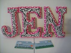 Individual wooden hand painted... hanging/shelf letters...pink-polka dot-zebra style! ~~ Letters can also be hung with anycolor ribbon/tulle ect!~~ (I TAKE REQUESTS!) http://www.facebook.com/buggybeandesigns