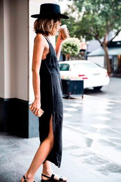 JJ Black slip dress - keeps you cool and looks cool! #summerstyle #summerdresses