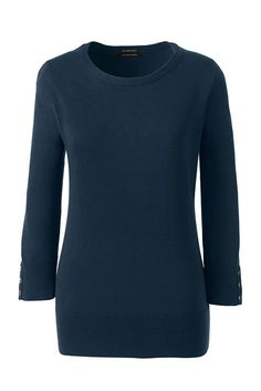 Women's Supima Cotton 3/4 Sleeve Sweater from Lands' End. Radiant Navy. A simple sweater that can be layered over a T or fitted collared shirt or worn under a blazer. Nice button detail on the sleeve.