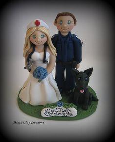Policeman and Nurse Wedding Cake Topper ~ Custom Made by Trina's Clay Creations