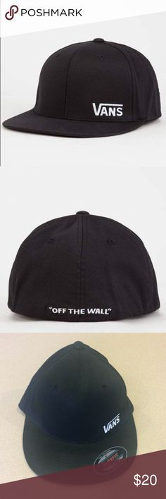 """VANS Splitz Mens Hat New NWT S/M New Vans Splitz flexfit hat. Embroidered Vans logo at the side panel. """"Off the Wall"""" embroidered on the back. Flex fit design. Size S/M.   Buy 2 items from my closet and save 10%! Vans Accessories Hats"""