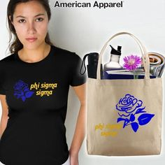 Phi Sigma Sigma Sorority Mascot Printed Tee and Tote Package $31.95