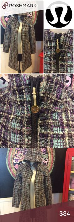 LULULEMON yoga apres JACKET sz4 LULULEMON apres yoga jacket tweed purples and blues with grey.  No flaws in great condition.  Size 4 I will measure in a bit.  I've priced it to sell quick cause I usually don't sell jackets... lululemon athletica Jackets & Coats