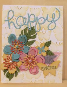 Using Botanical Blooms & Botanical Thinlets,  Textured Impression Embossing Folder, Hello You Thinlets, Crazy About You Stamp Set & Elegant Butterfly punch.