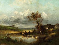 Jules DUPRE (1811-1889)  La mare. Huile sur panneau. Porte une trace de si