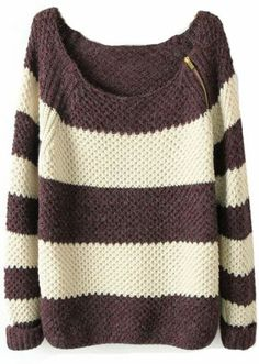I want you! Coffee + White Striped Zipper Sweater.