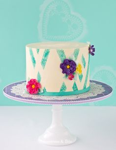 Teal Sponged Absract Buttercream Cake {Tutorial} by Sweetness & Bite