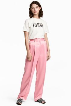 Suit trousers in sturdy satin with a high waist, concealed hook-and-eye fastening and zip fly. Side pockets, fake back pockets and wide, straight legs with Pink Trousers, Silk Pants, Trouser Suits, Love Fashion, Kids Fashion, Spring Fashion, London Fashion Bloggers, Satin Rose, Pinterest Girls