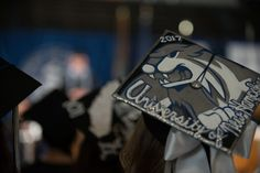 2017 UNH Durham Commencement Honors Ceremony - University of New Hampshire Wildcat themed decorated Mortarboard / Graduation Cap