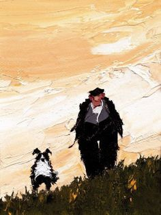 dogs, art, portrait, man