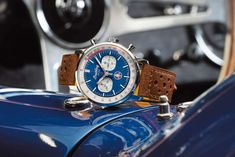 All Personal Feeds Breitling Top Time, Corvette C2, Carroll Shelby, Small Case, American Sports, Racing Stripes, Stainless Steel Case, Chronograph, Red And Blue