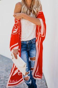 New Women Boho Floral Chiffon Kimono Cardigan Print Beach Cover Up Coat Loose Tops Casual Beachwear Kimono Beach Cover Up, Beach Kimono, Chiffon Kimono, Floral Chiffon, Boho Fashion Summer, Beachwear, Swimwear, Long Blouse, Long Kimono