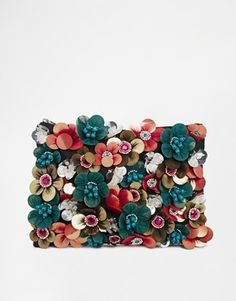 Asos ASOS CLUTCH BAG WITH FLOWER EMBELLISHMENT