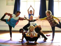 k~i love this idea of having the kids create their own group yoga pose! #kidsyoga