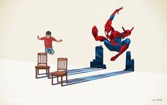 Super Shadow: Spiderman (illustration by Jason Ratliff) Shadow Illustration, Creative Illustration, Marvel Dc, Marvel Heroes, Comic Manga, Comic Art, Comic Book, Hulk, Geeks